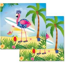 """serviette """"Flamant rose"""" décoration table couvert fête été anniversaire"""