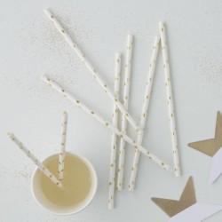 """Pailles """"étoiles dorées"""" anniversaire fête décoration cartonnée"""