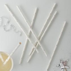 """Pailles """"étoiles argentées"""" anniversaire fête décoration cartonnée"""