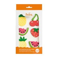 """Decos sucres """"fruits d'été"""" gâteau fête été fruits pastèques fraises ananas sucre comestible"""