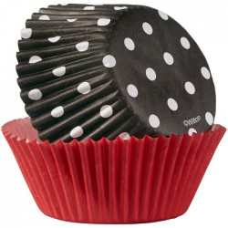 caisettes noir point blsnc, cupcakes noir point blanc, caissettes noir et rouge, grande caissette noir et rouge,