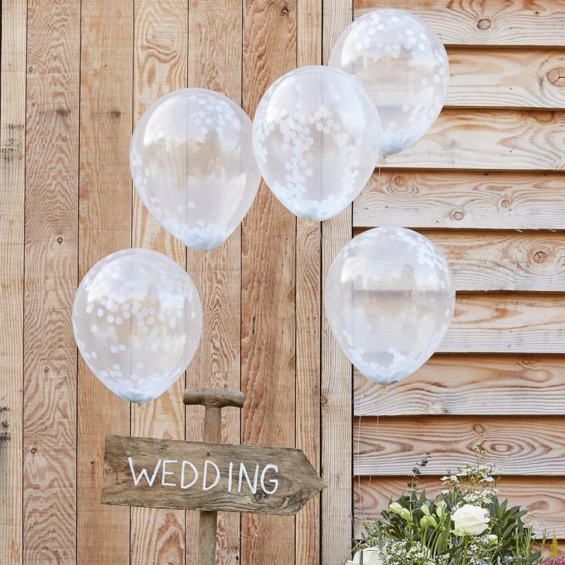 Ballons à confettis blancs décoration fête anniversaire mariage ballons chic blanc confettis