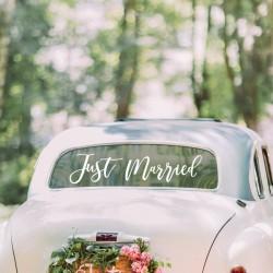"""Autocollant """"Just Married"""" décoration voiture mariage fête juste mariés"""