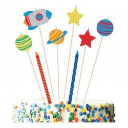 """Bougies """"Espace"""" anniversaire fête galaxie bougie fusée planète"""