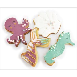 """Emporte-pièces """"Mer"""" été pieuvre sirène coquillage cheval des mer biscuits"""