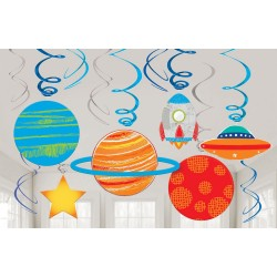 """12 décos Spirales """"Espace"""" guirlande anniversaire fête galaxie planète fusée étoile"""