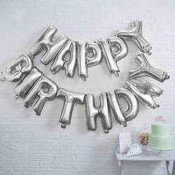 """Ballons """"Happy Birthday"""" décoration salle anniversaire argenté ballon joyeux anniversaire"""