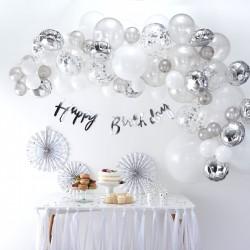 Arche de ballons argentés décoration salle anniversaire fête mariage ballon barrière