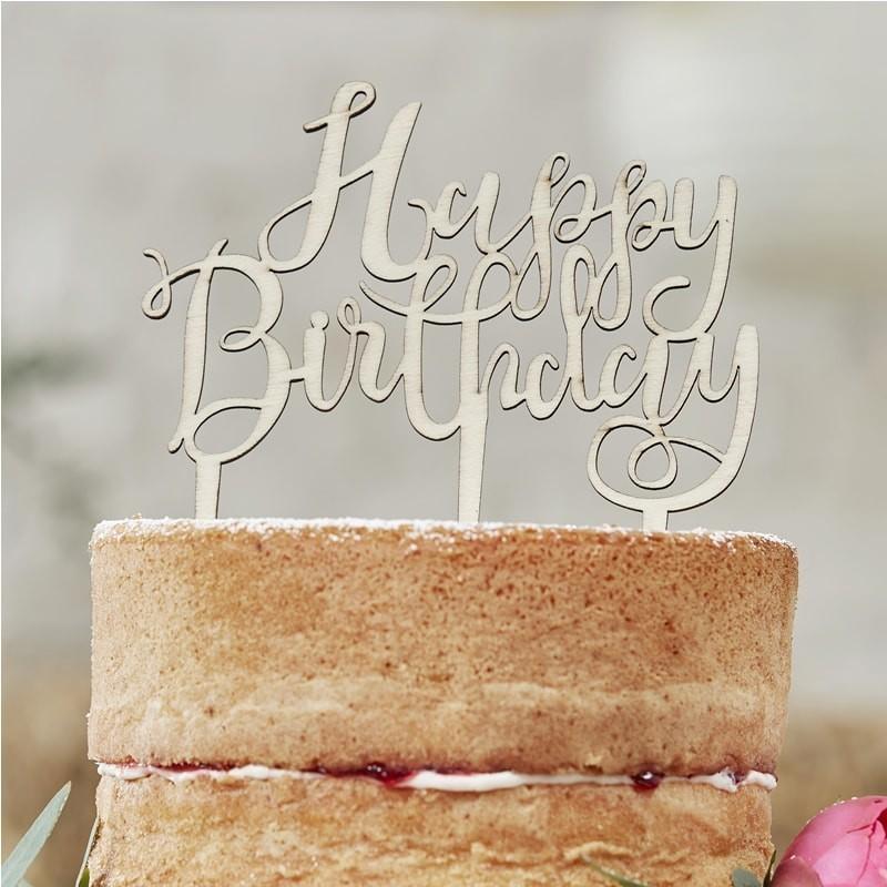 """Décoration """"Happy Birthday"""" topper décoration gâteau bois anniversaire"""