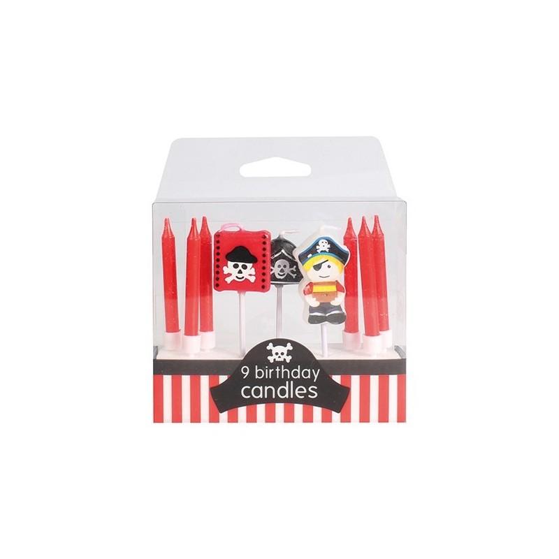 "Bougies ""pirates"" gâteau bougies rouge blanches pirates drapeau"
