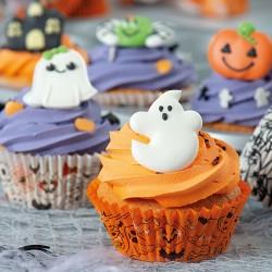 """Caissettes """"Halloween"""" cupcakes orange fantomes blancs citrouille caissettes"""