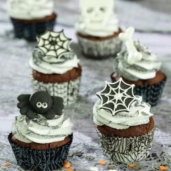 """Caissettes """"Halloween"""" cupcakes noir toile blancs toile d'araignées caissettes"""