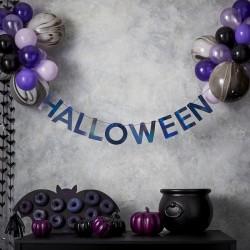 """Guirlande """"Araignée"""" décoration salle halloween araignées chauve-souris toile fête anniversaire violet noir"""