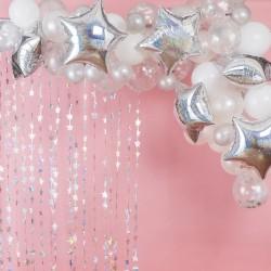 Arche de ballons étoilée décoration de salee mariage anniversaire baby shower argenté blanc étoiles