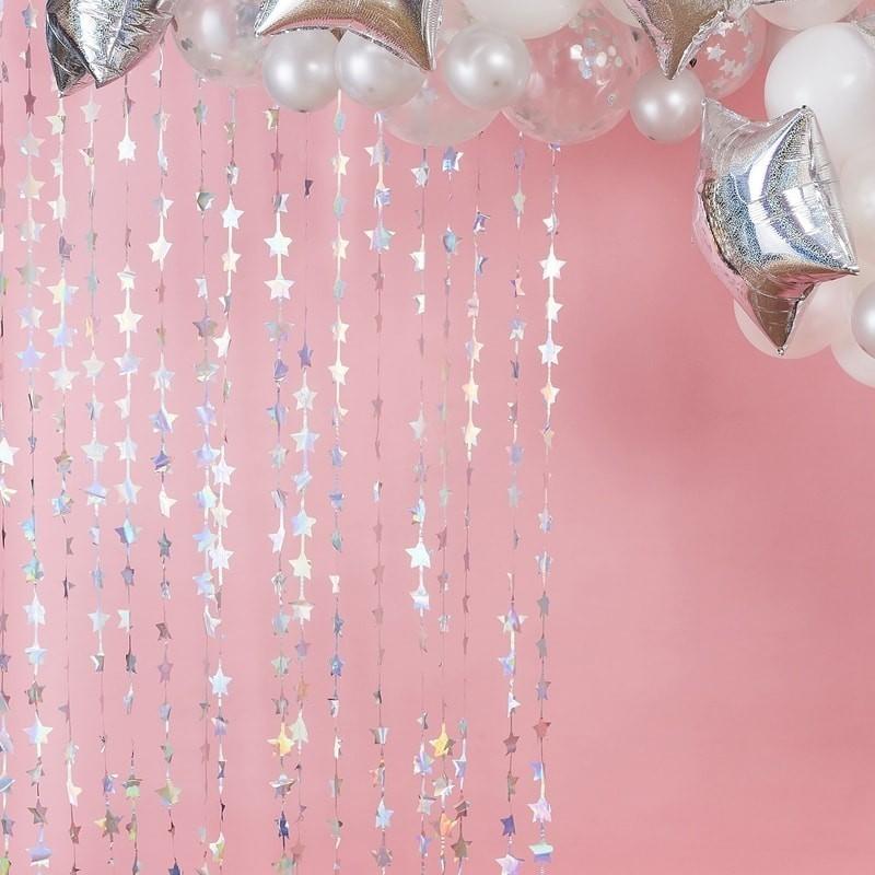 Arche de ballons étoilée décoration de salee mariage anniversaire baby shower argenté blanc étoiles guirlande étoile étoilée rid