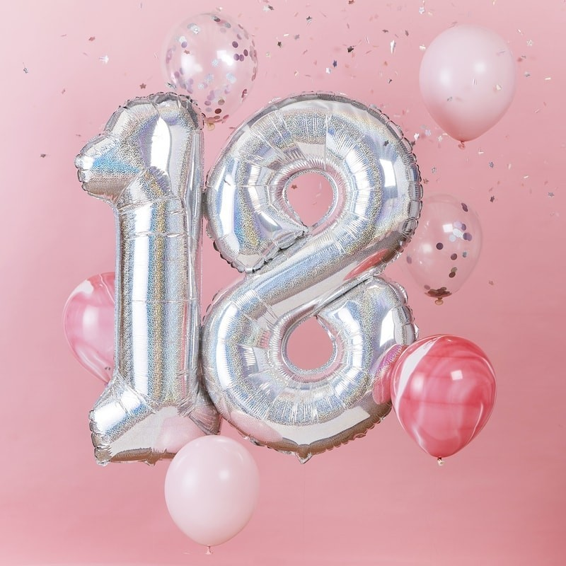 """Ballons """"18 ans"""" anniversaire majeur argenté"""