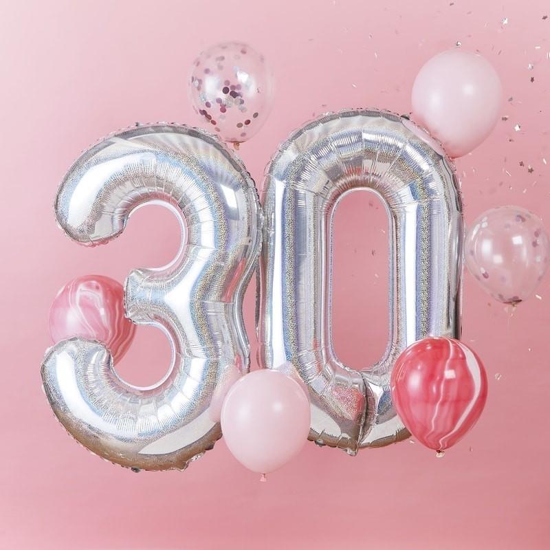 """Ballons """"30 ans"""" anniversaire majeur argenté"""
