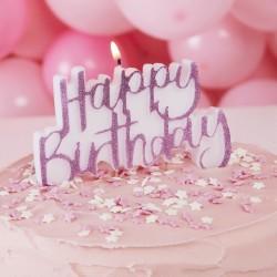 """Bougie rose """"Happy Birthday"""" décoration gâteau joyeux anniversaire bougie fête happy"""