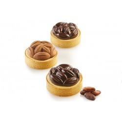"""Kit tarte ring """"Cocoa"""" fond de tarte perforé tartelette perforés insert silicone effet graine de caco café graine"""
