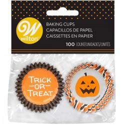 """Mini caissettes """"Halloween"""" cupcakes petit orange balnc citrouille caissettes"""