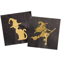 """serviettes """"sorcière """" halloween fête table décoration couverts"""