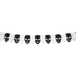 """Guirlande """"Tête de mort"""" décoration salle halloween fête guirlande noir et blanc tête de mort papier"""