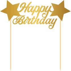 """Décoration """"Happy Birthday"""" tooper gâteau  entremet décoration joyeux anniversaire doré or"""