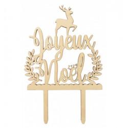 "Topper ""Joyeux Noël"" décoration noël bûche fête joyeux noël bois"