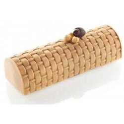 tapis effet panier en bois, effet panier pour bûche, décoration pour bûche de noël, tapis effet panier pour bûche de noël, bûche
