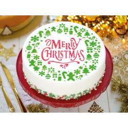 """Pochoir """"Merry Christmas"""" gâteau noël joyeux noël décoration"""