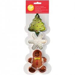 """Emporte-pièces """"Noël"""" sapin flocon bonhomme de pain d'épices vert blanc brun"""