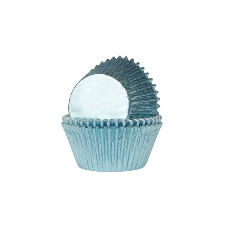 """Caissettes à cupcakes en aluminium """"bleu bébé"""" pcs/24"""