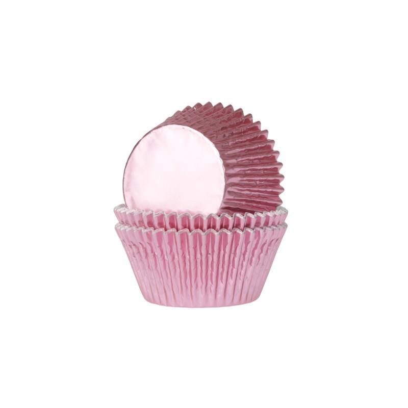 """Caissettes à cupcakes en aluminium """"rose bébé"""" 24/pcs"""