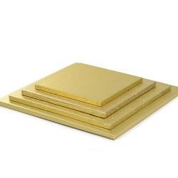 Goldene quadratische Tortenplatte
