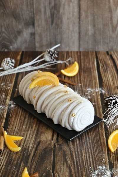 Bûche orange - chocolat et pain d'épice